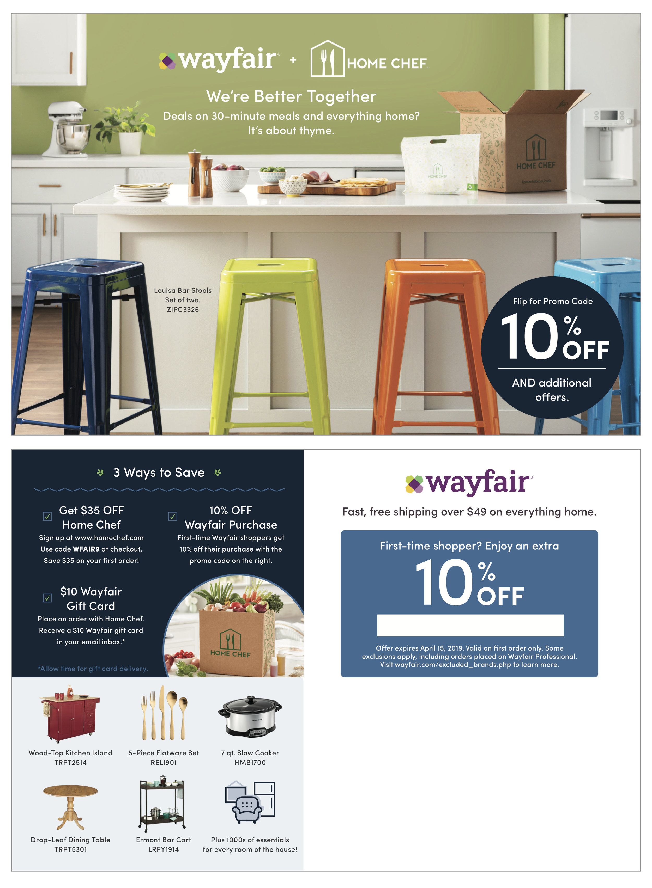Wayfair x Home Chef Collaboration Mailer