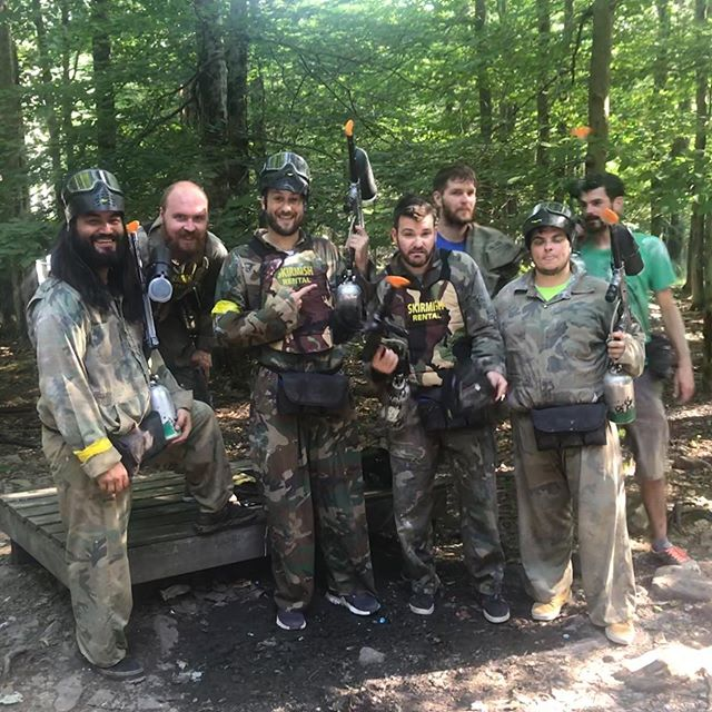 Day 2 of Tyler's Bachelor Party! In order:  1.) Paintballin at @skirmishusapaintball .  2.) Glamping at @serenesanctuarypa ! 3.) Twister n Shout 4.) Poker In The Face  Not included ( Chef @jurklife 's excellent dinner of Chicken Parm, Pasta and Broccoli Rabe and this morning's Continental Breakfast of Pork Roll, Egg and Cheese) #relaxunwindrepeat