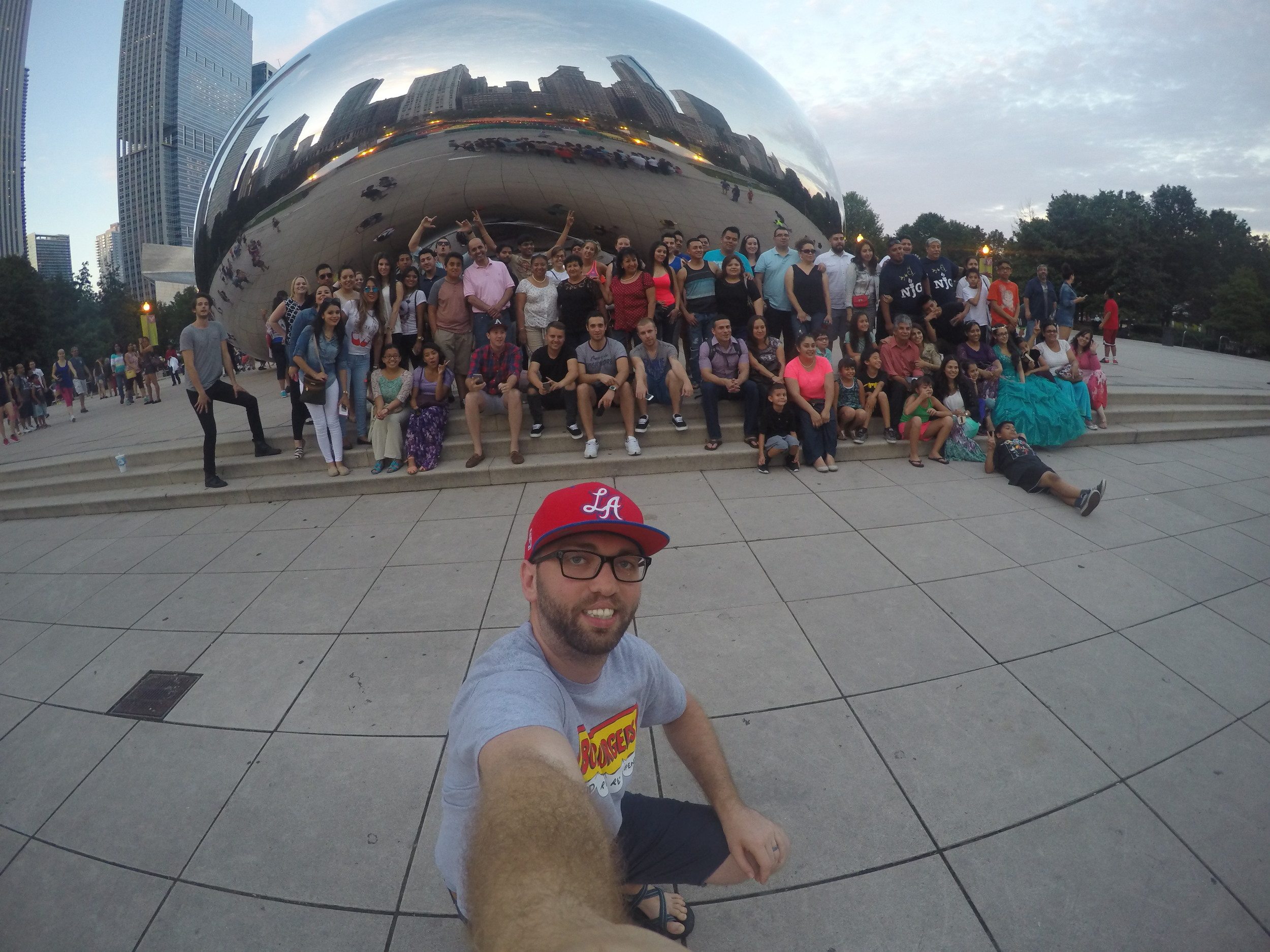 GOPRO selfie with about 100 complete strangers in downtown Chicago