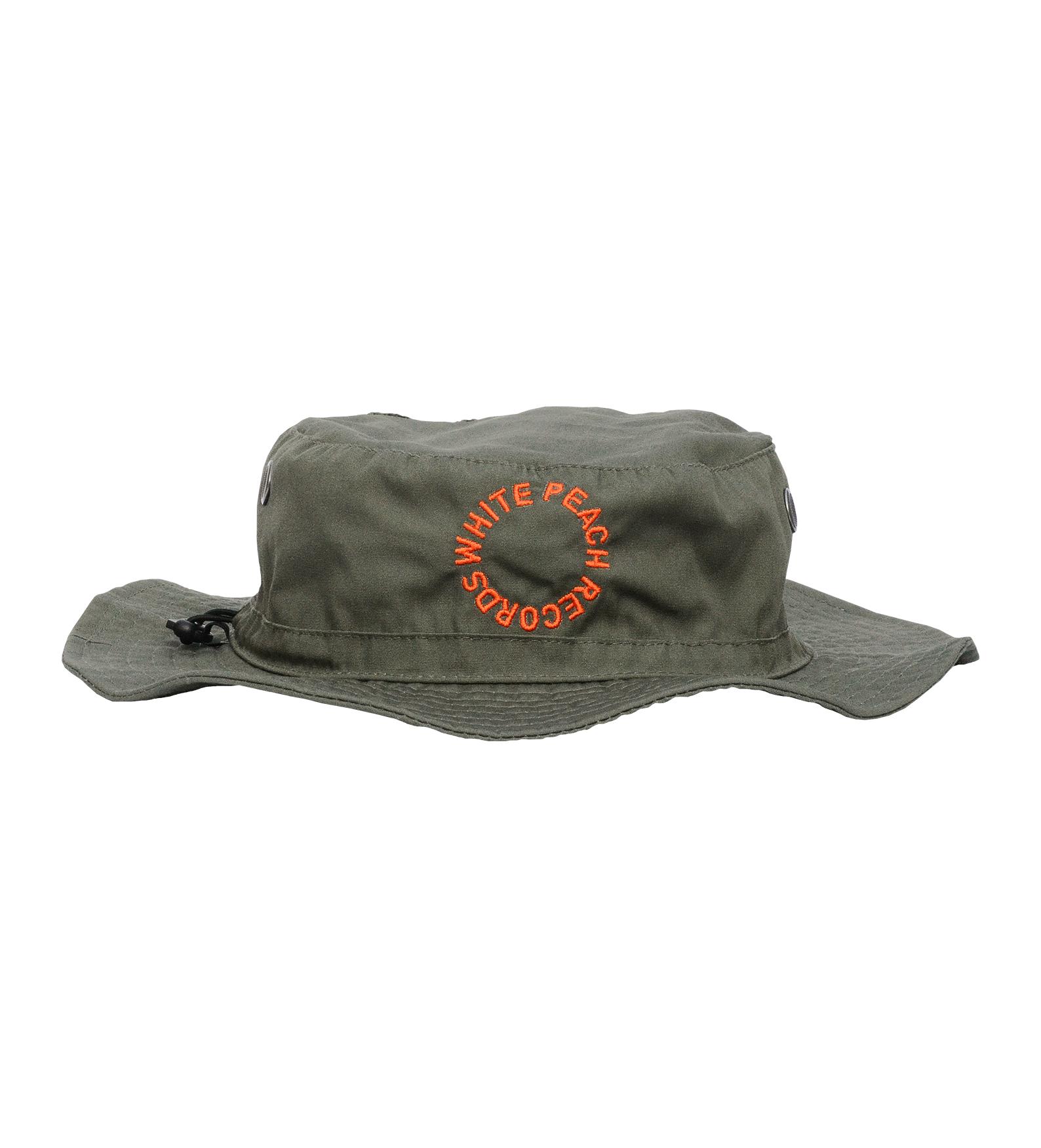 Wpt014 Green Bucket Hat W Orange Embroidery White Peach Records