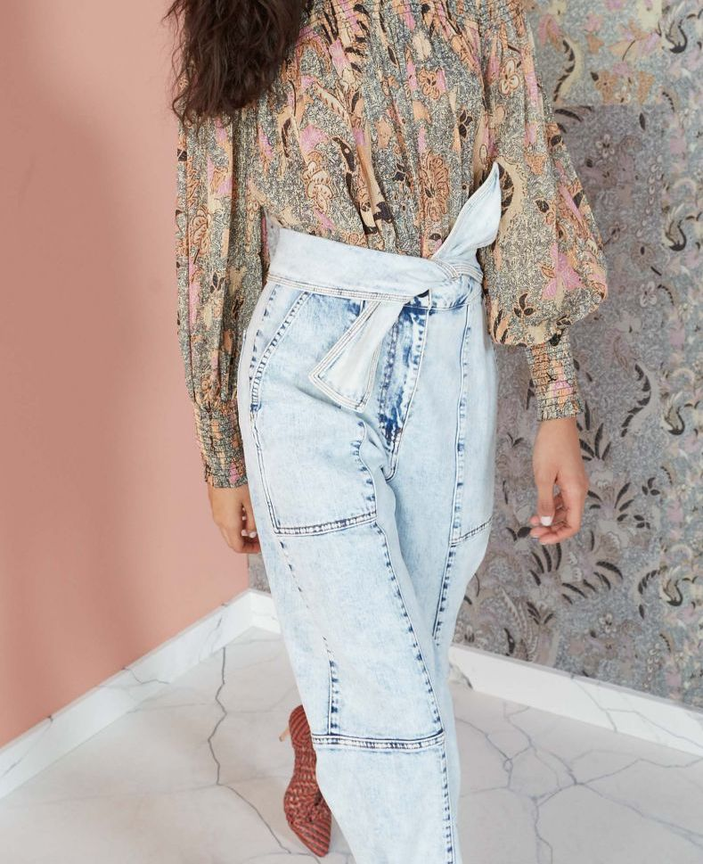 EIGHTIES + BOHO - Ulla Johnson is the queen of the New Bohemian so when she released the Storm Jean we could hardly contain ourselves. The utilitarian, cargo pant silhouette is low-key but the wash turns these beauties into a show-stopping piece. Pair it with a bohemian blouse (tucked in to show the tie detail) like this one, or this one or this one!