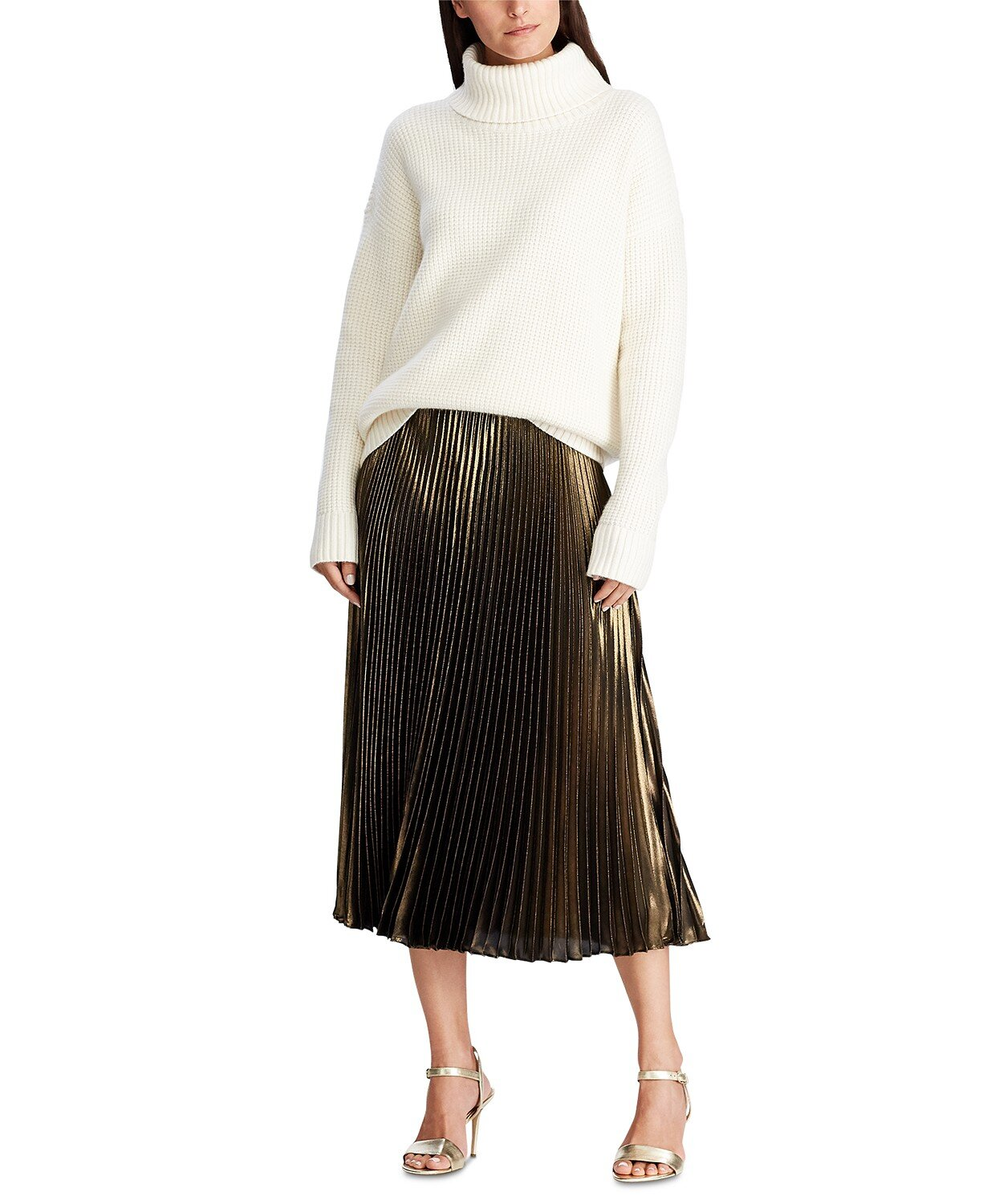 Lauren Ralph Lauren Pleated Metallic Skirt Macys