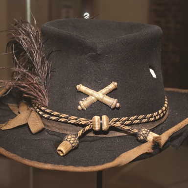 This officer's slouch hat belonged to Capt. Hezekiah Easton of the 1st Pennsylvania Lt. Artillery. Easton was killed in this hat in battle at Gaines Mill, Va. in 1862.