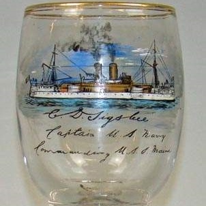 USS Maine hand-painted glass goblet purportedly presented to Charles D. Sigsbee by the crew after he was promoted to captain in April of 1897.