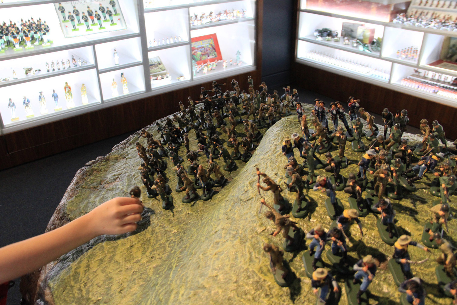 Detail of the terrain table and soldiers in The Charles Stewart Gallery for all to play with.