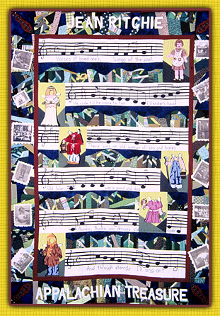 """""""Jean Ritchie"""" by Rebekka Seigel. 1998. Fiber, hand appliqué, machine-pieced, hand-quilted, hand embroidery."""