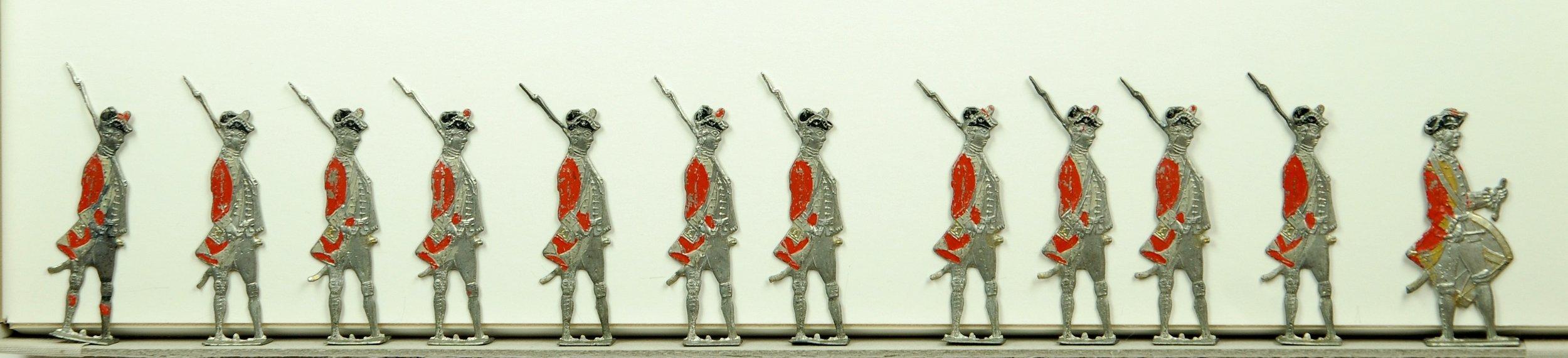 J. G. Lorenz, Germany, British Infantry, c. 1770. Rare tin flats, 50 mm.