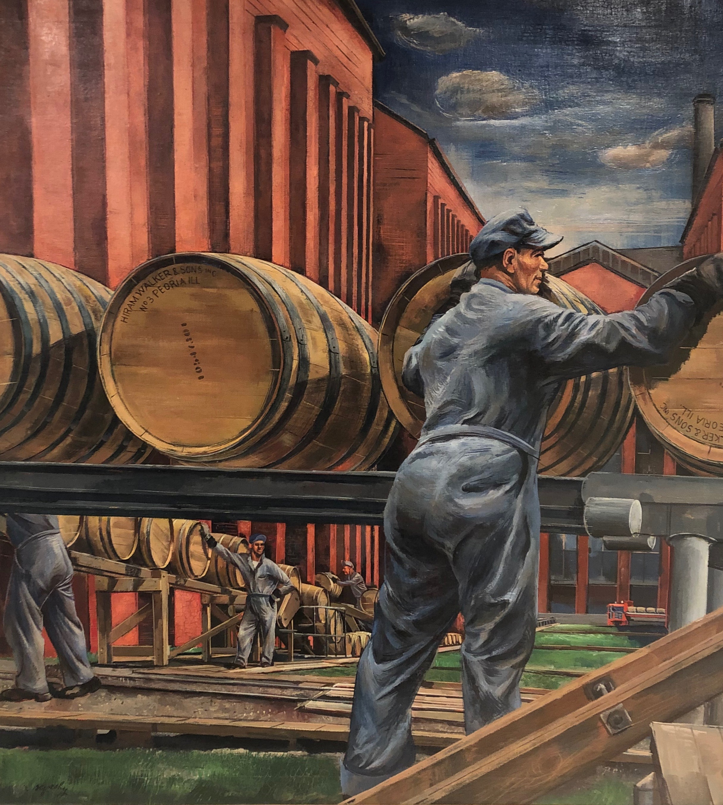 Zoltan Sepeshy,  Barrels of Aged Whiskey Rolling From the Rackhouses , c. 1945. On loan to the Frazier from Maker's Mark Distillery.