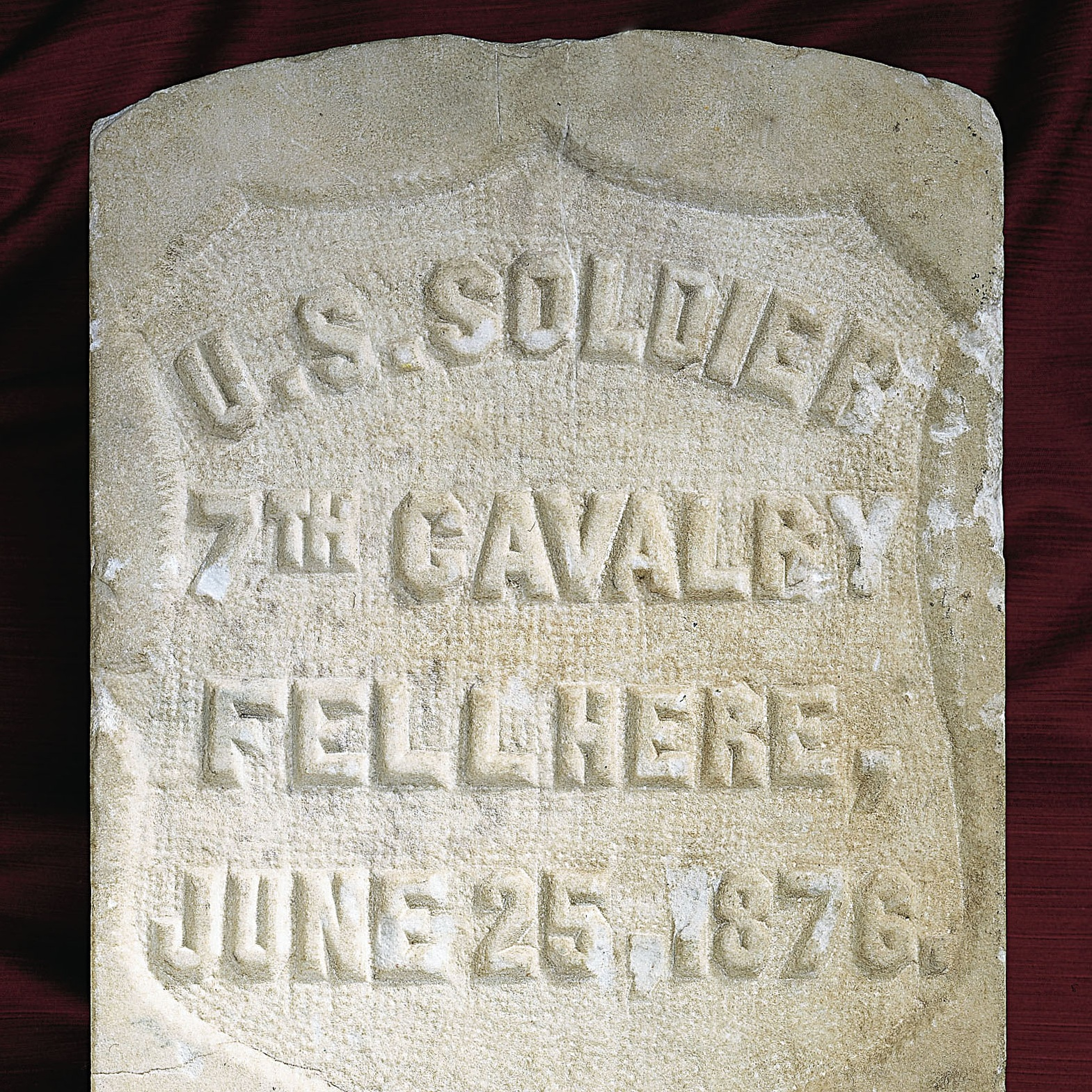 Detail of Seventh Cavalry marker from the Battle of Little Bighorn. American, c. 1890. Marble. Frazier History Museum Collection.