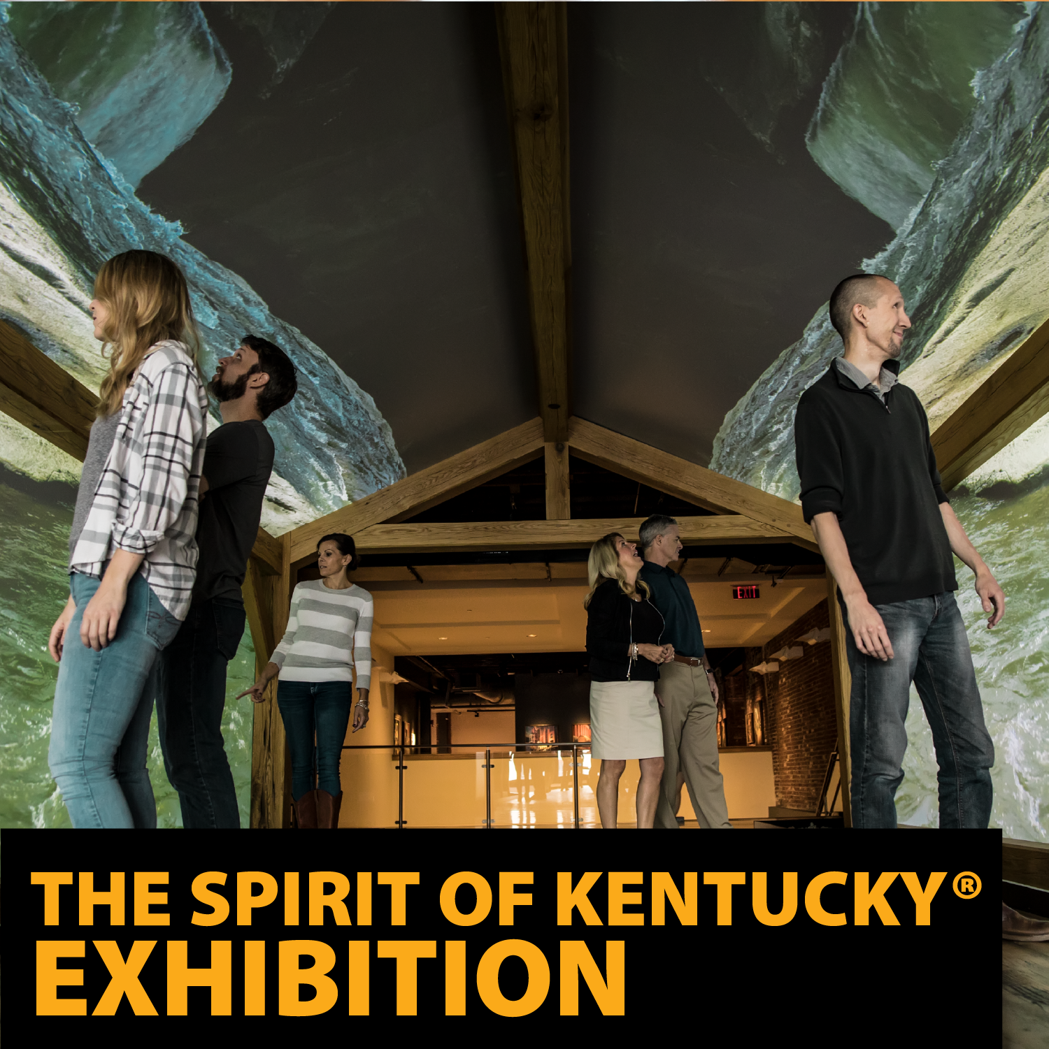 Visitors in a Simulated Covered Bridges with projections of the Kentucky Bourbon country