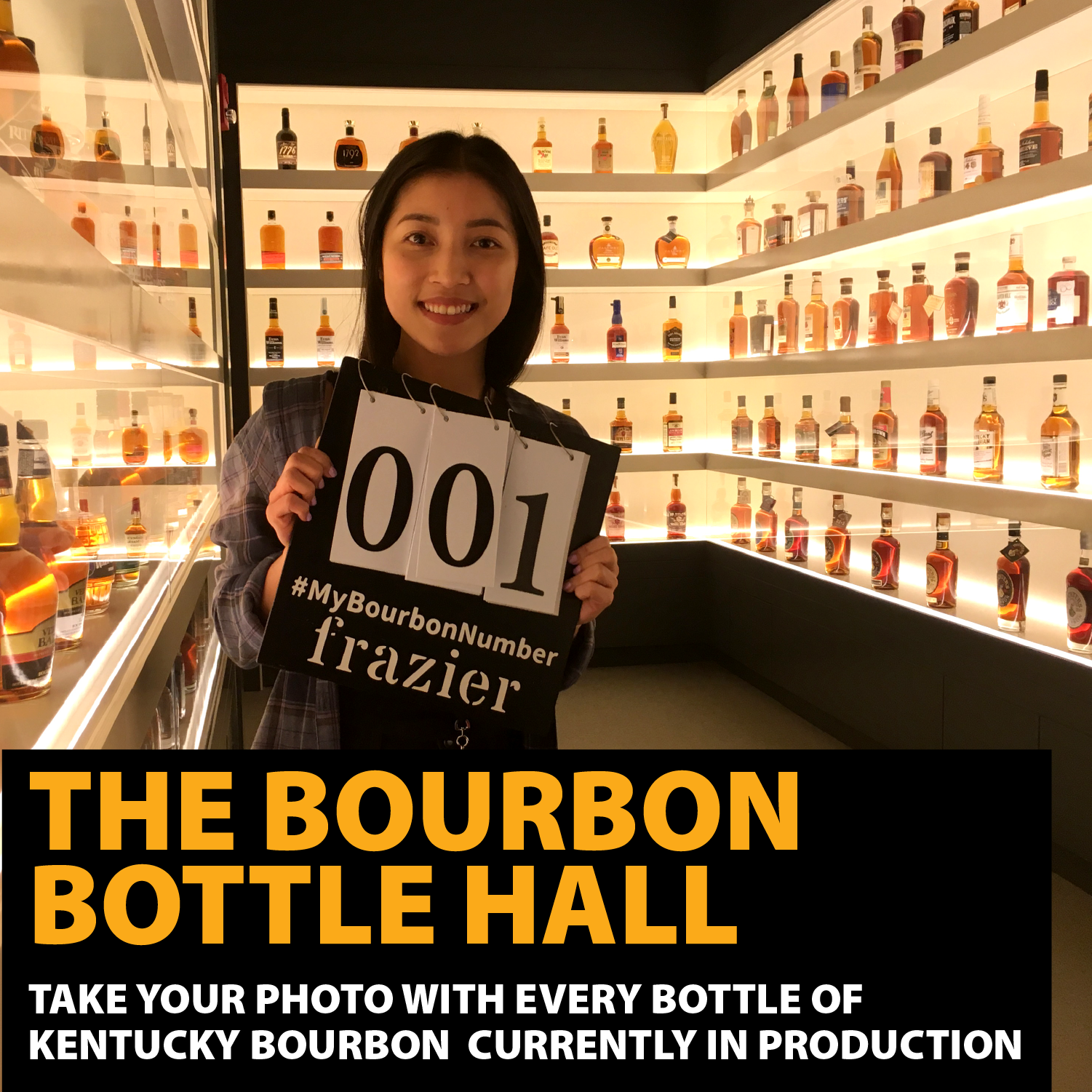 woman with a sign showing  how many bourbons she has tasted in the Bourbon Bottle Hall