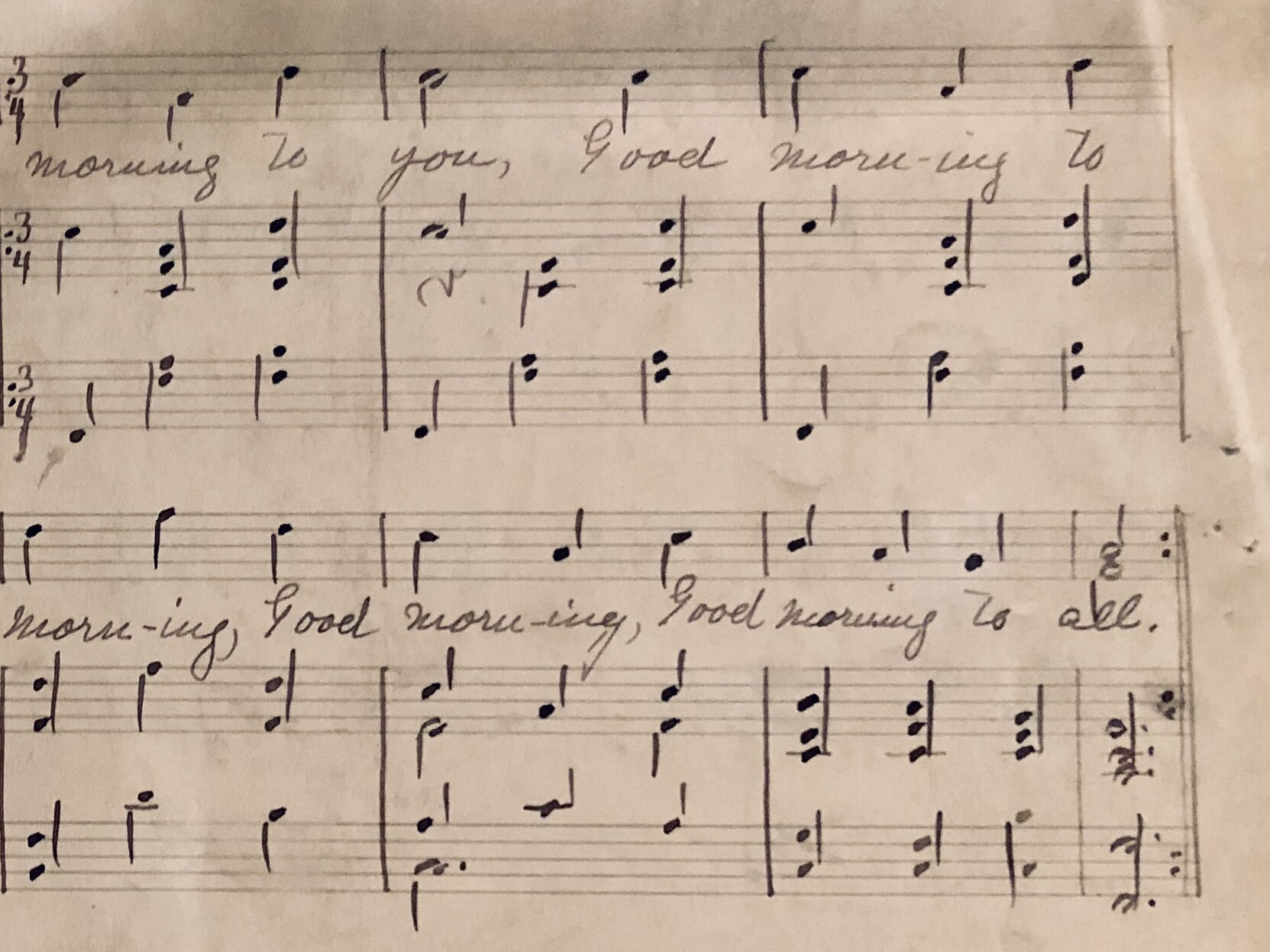 "Detail of manuscript of ""Good Morning to All."""