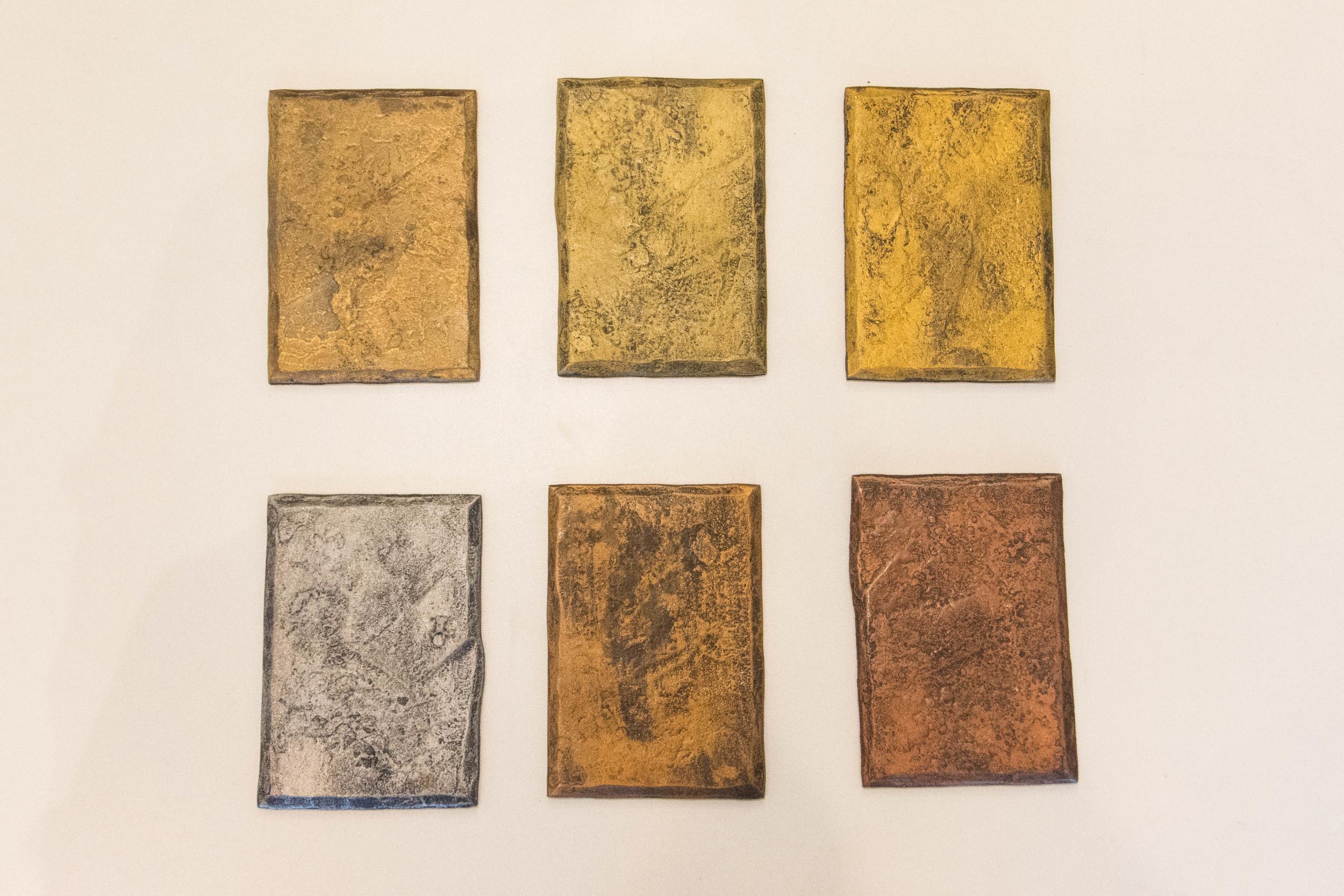 Gilders Paste - Left to Right: Rich Gold, Bronze, Inca Gold, Metallic Silver, Antique Gold, Copper