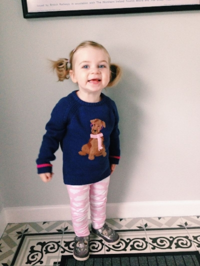 Phoebe styled in Jumper:   Joules  . Leggings:   Jack & Jillaroo   - both from Little Boutique @ Alana's.
