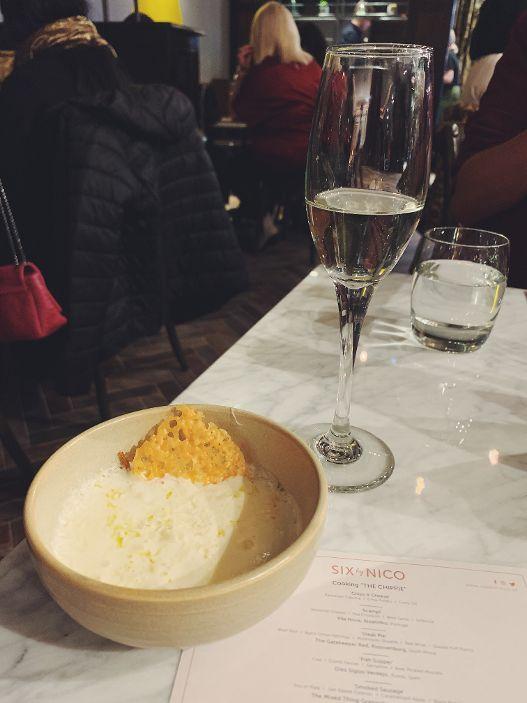 Course One - 'Chips & Cheese'   Parmesan Espuma | Crisp Potato | Curry Oil