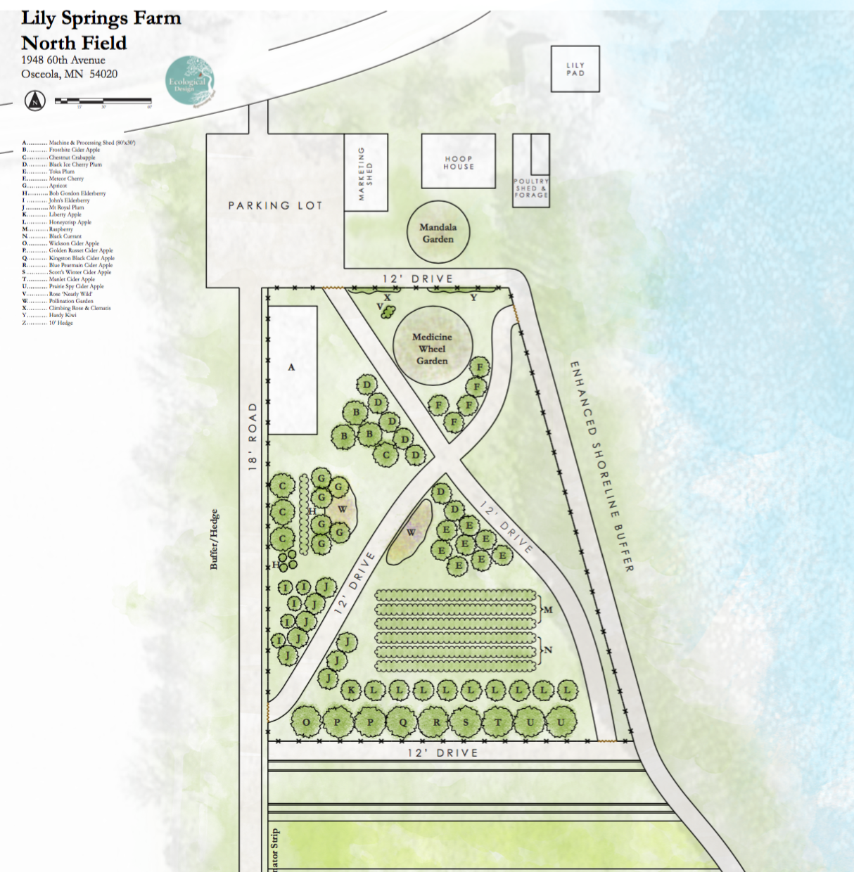 The layout for the North Field at Lily Springs Farm, courtesy of the brilliant team at Ecological Design (www.ecologicaldesign.land), Lindsay Rebhan and Paula Westmoreland.