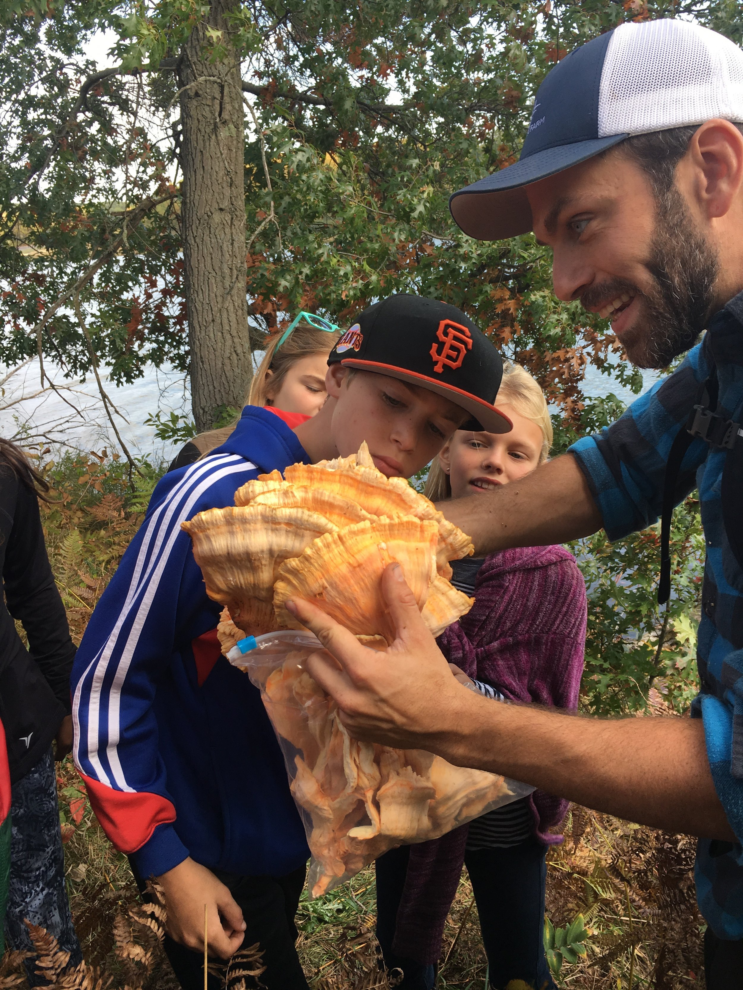 Mushroom foraging with school kids