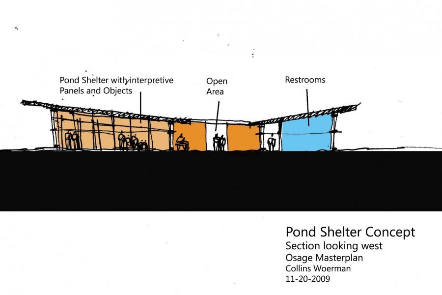 Pond shelter section for Osage nation