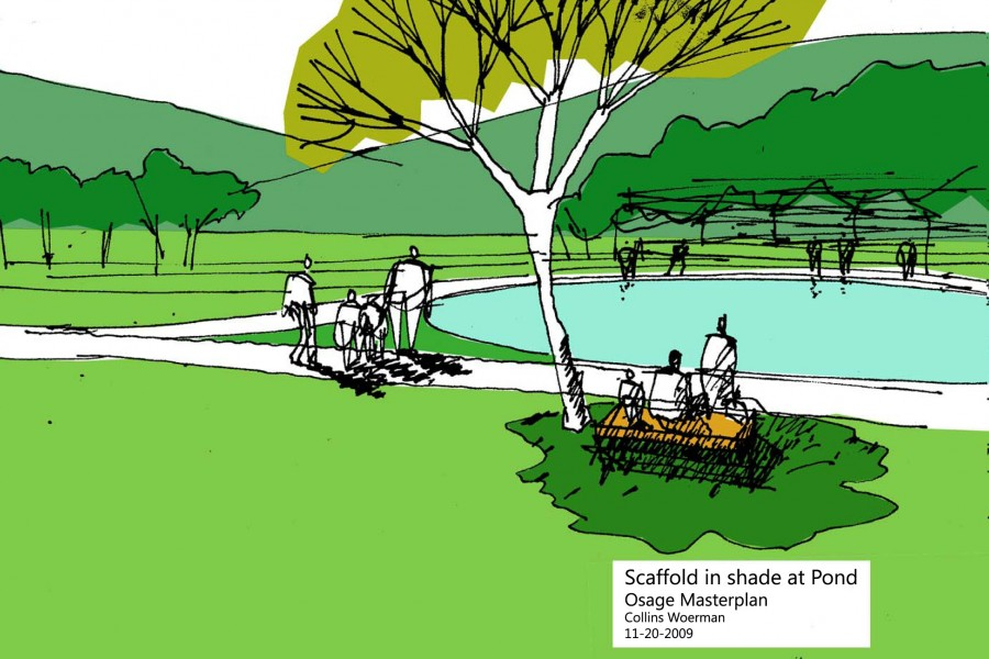 Study for seating, lighting, shading along interpretive, exercise and campus pathway