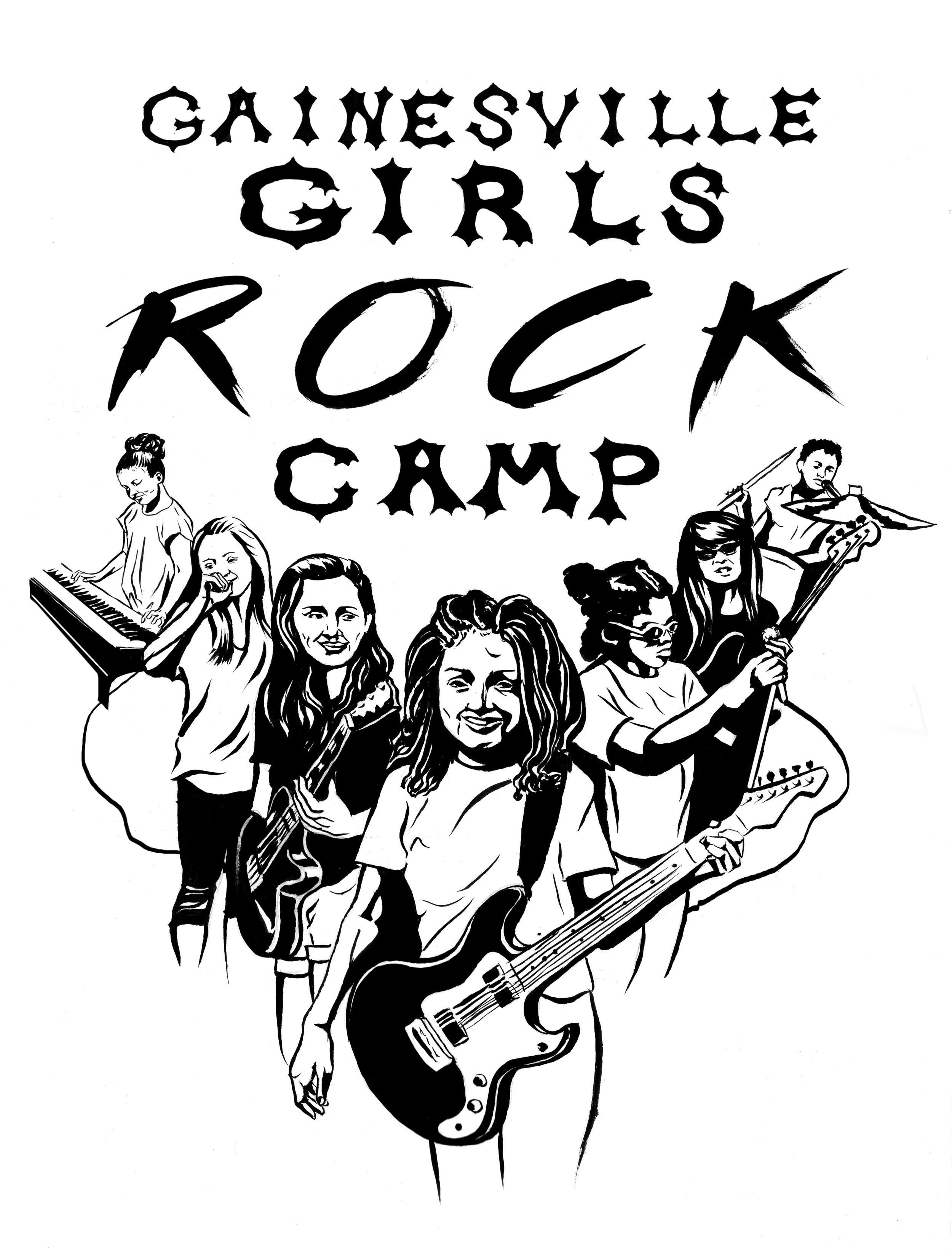 Gainesville Girls Rock Camp T-shirt design