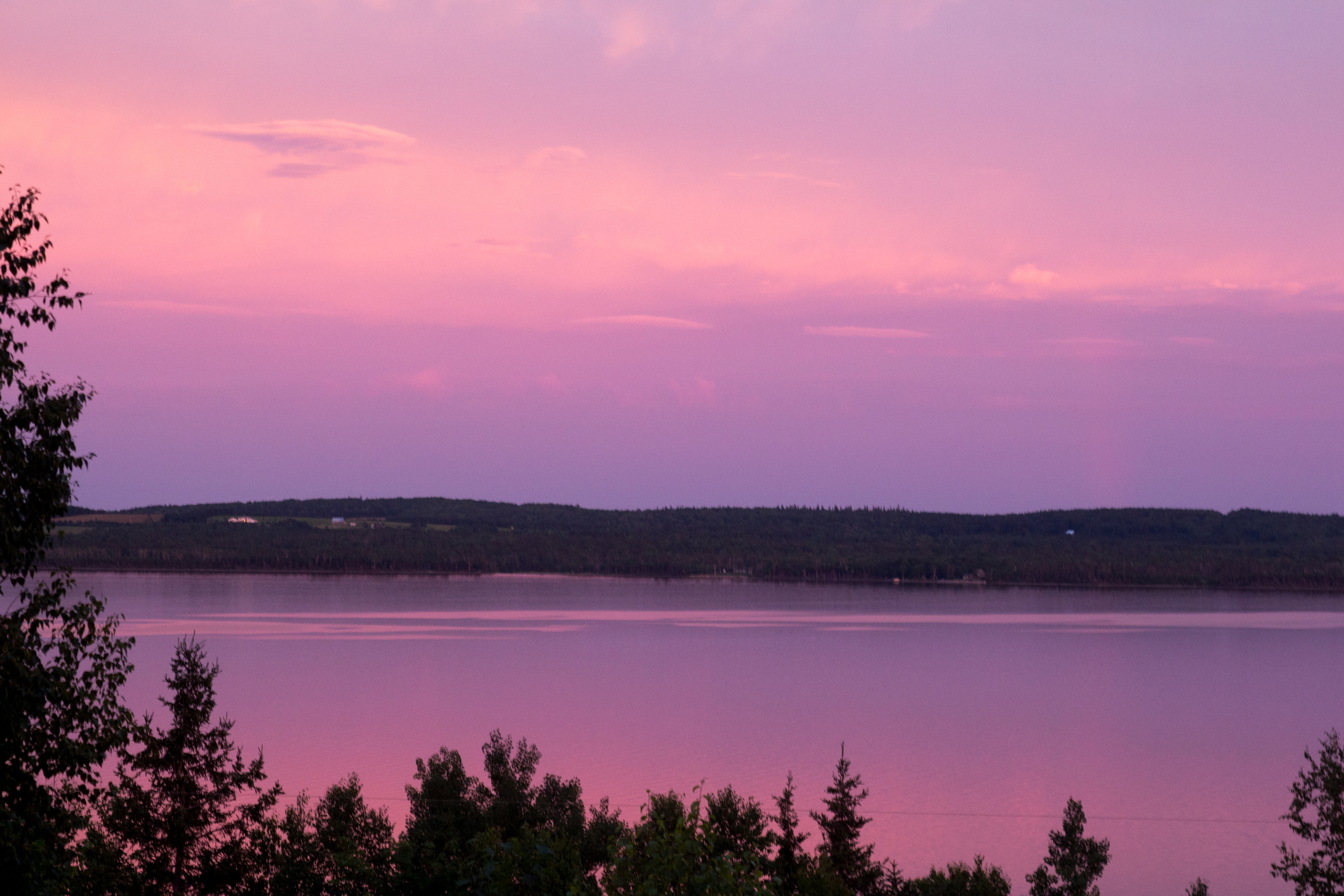 Sunset over  Bras D'Or Lakes in Cape Breton.