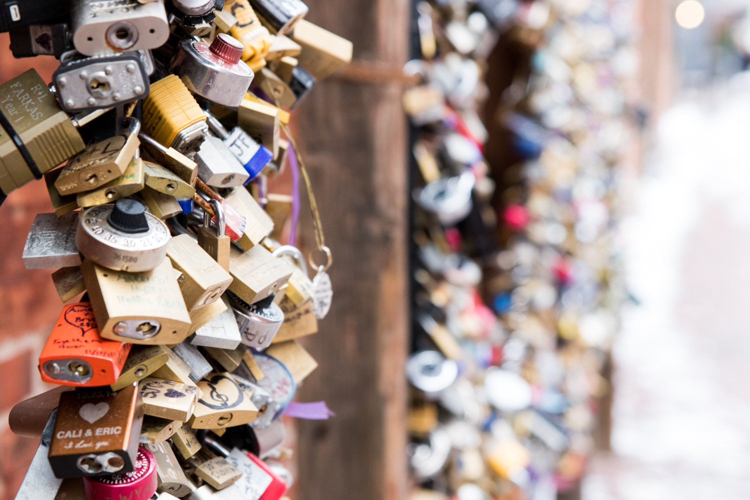 Padlocks in the Distillery District of Toronto. January 14th.