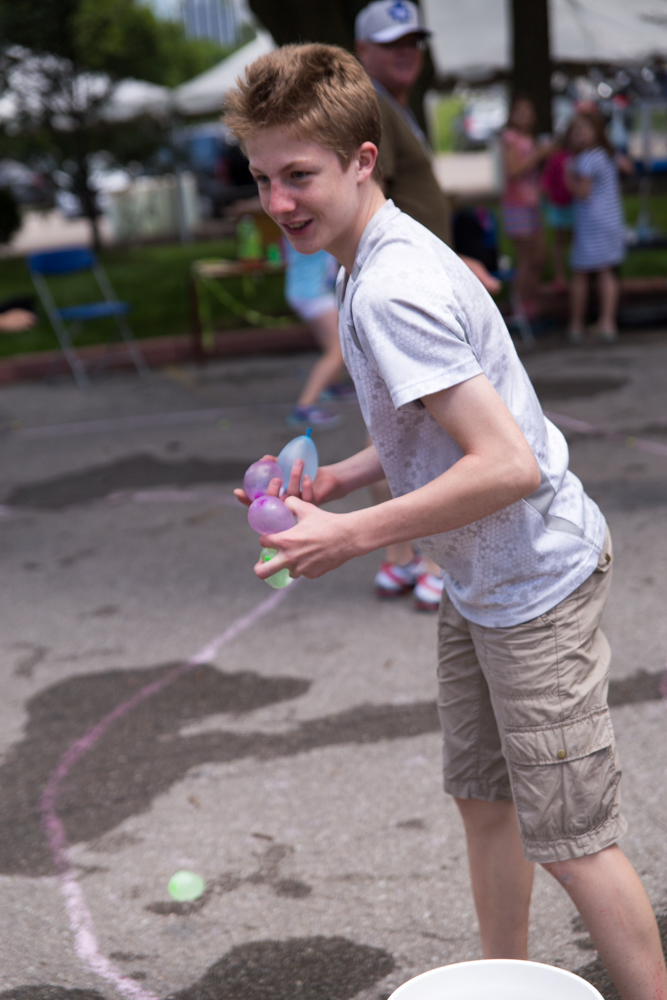 It quickly evovlved into a water balloon fight!