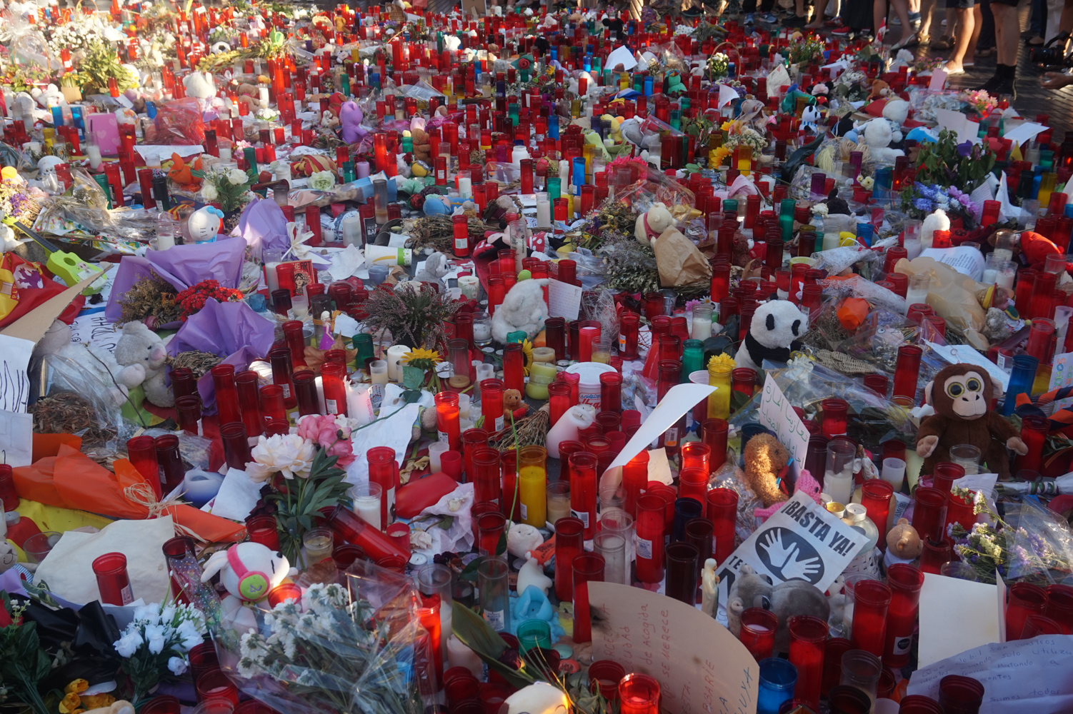 Not there anymore. A memorial for the Barcelona terrorist attacks last month.