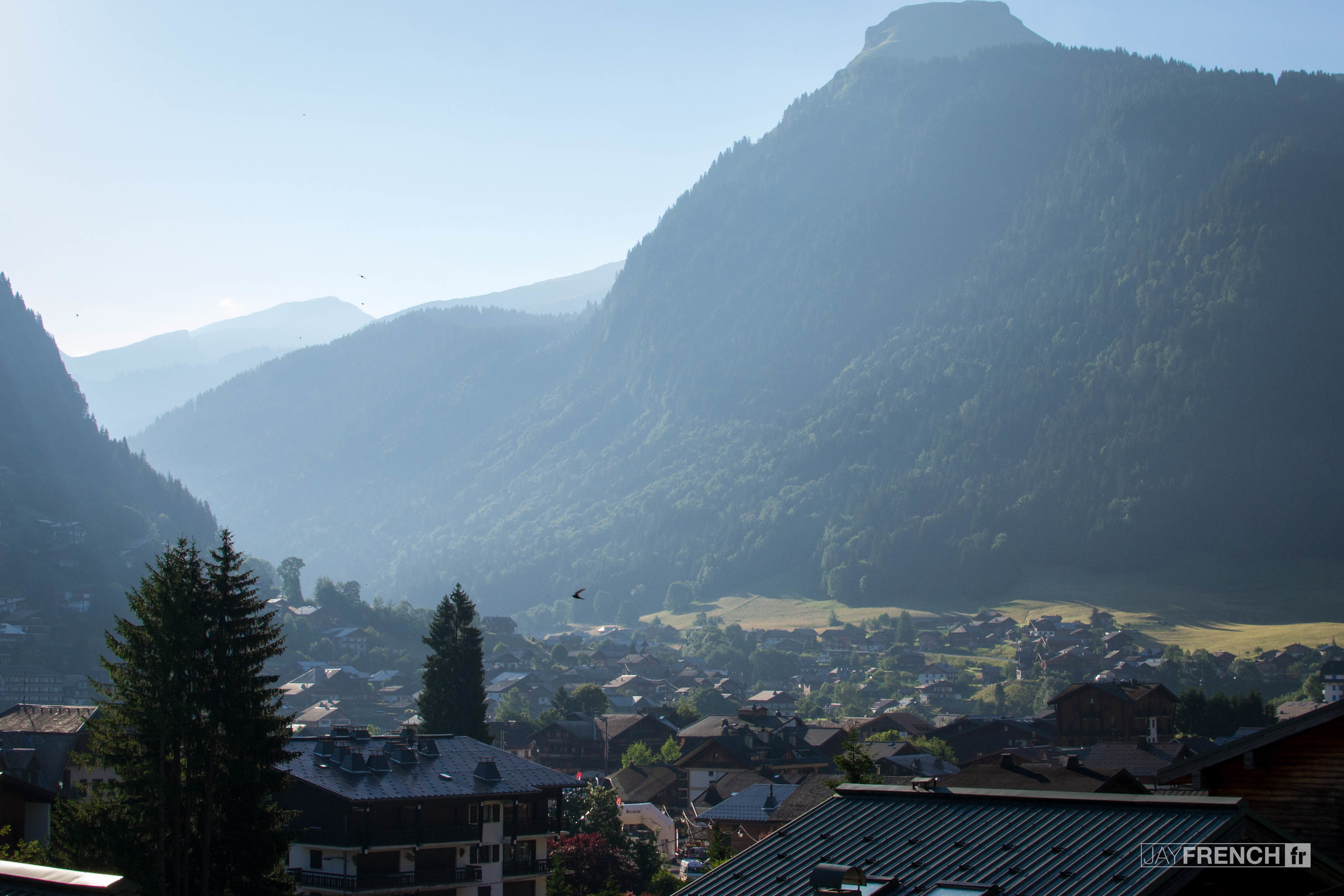 View across Morzine in the morning.