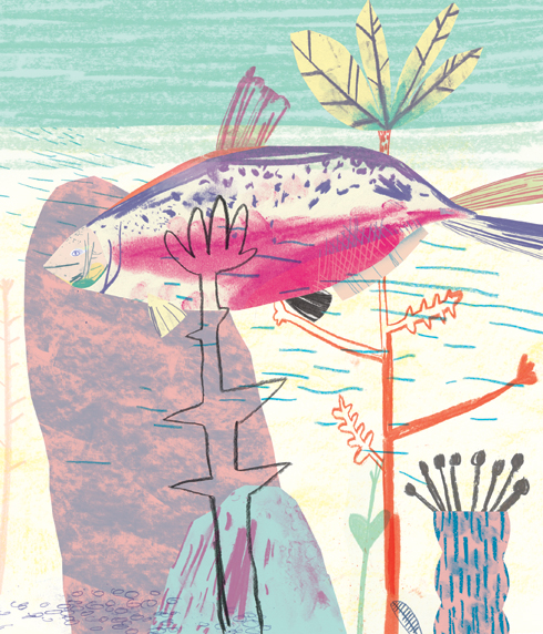 Huqa (Hu-q-a)  Canadian: a salmon going along with it's fin out the water.  Commissioned for issue 13 of Oh Comely Magazine