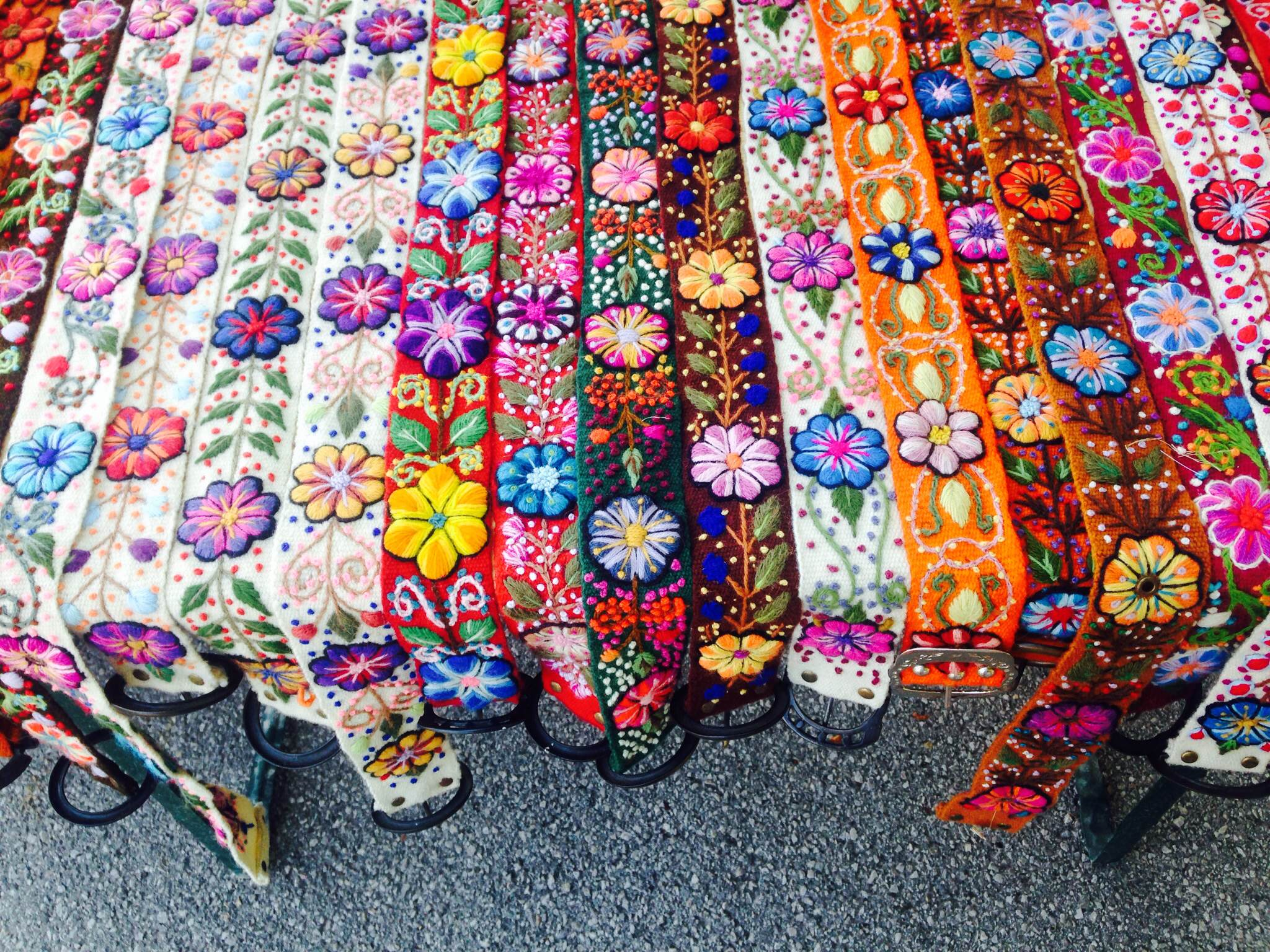 Craft belts at a Salzburg street market