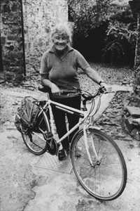 Dervla and her bicycle, 1994
