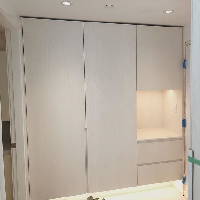 Nearing completion on a project with @michelleleejin and @regenerationdesignstudio This entry closet area in bleached white ash is definitely my favourite bit