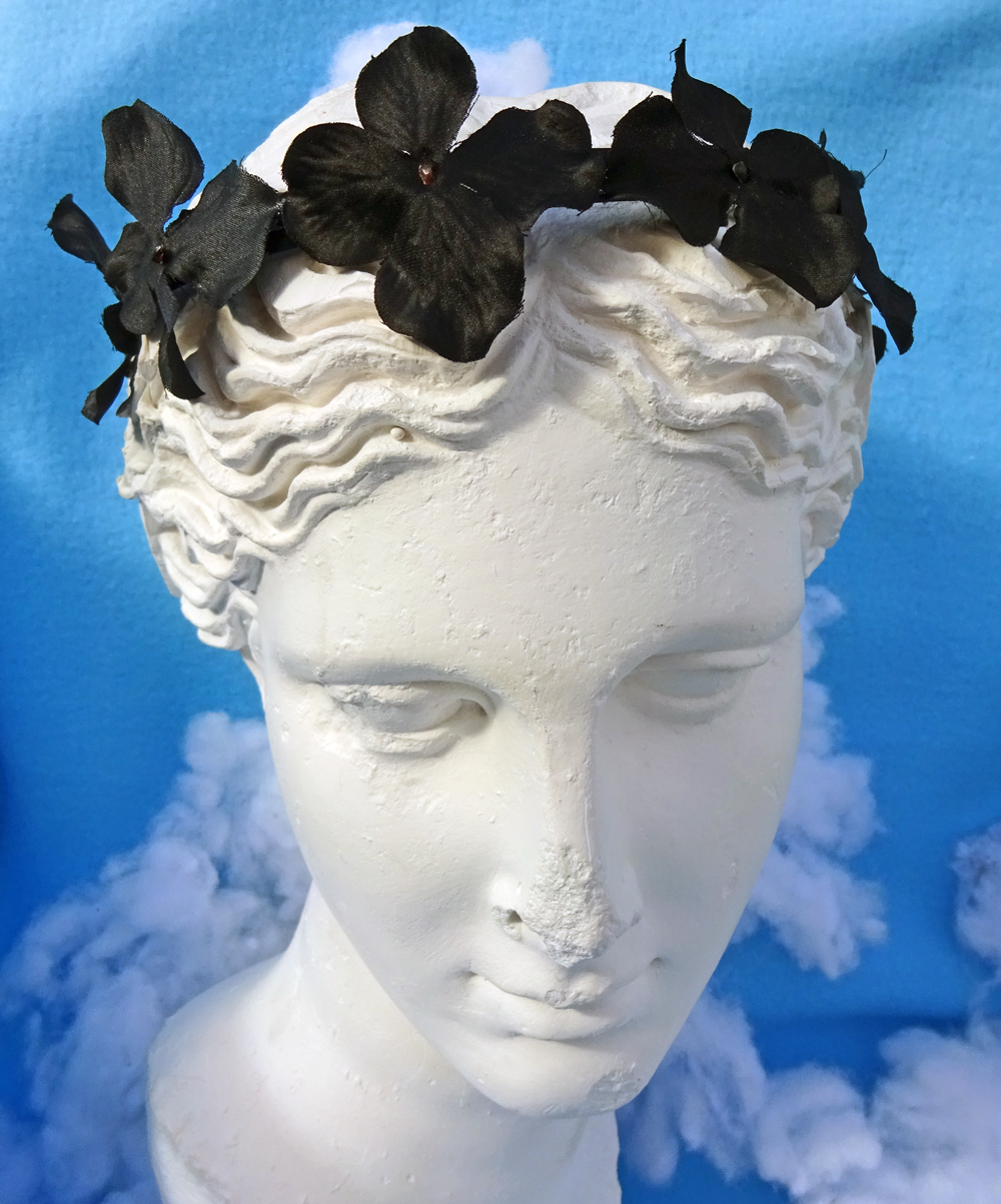 goth hydrangea black flower crown headband
