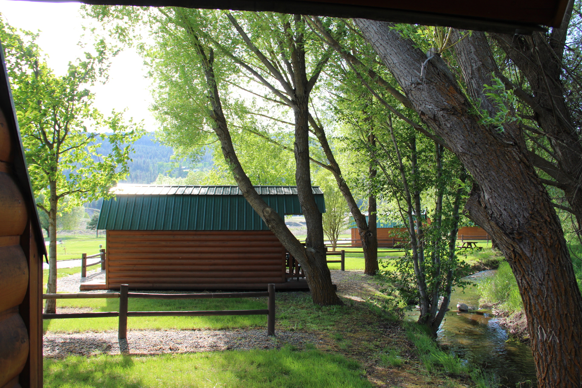 Camper cabins & tent sites on the creek.