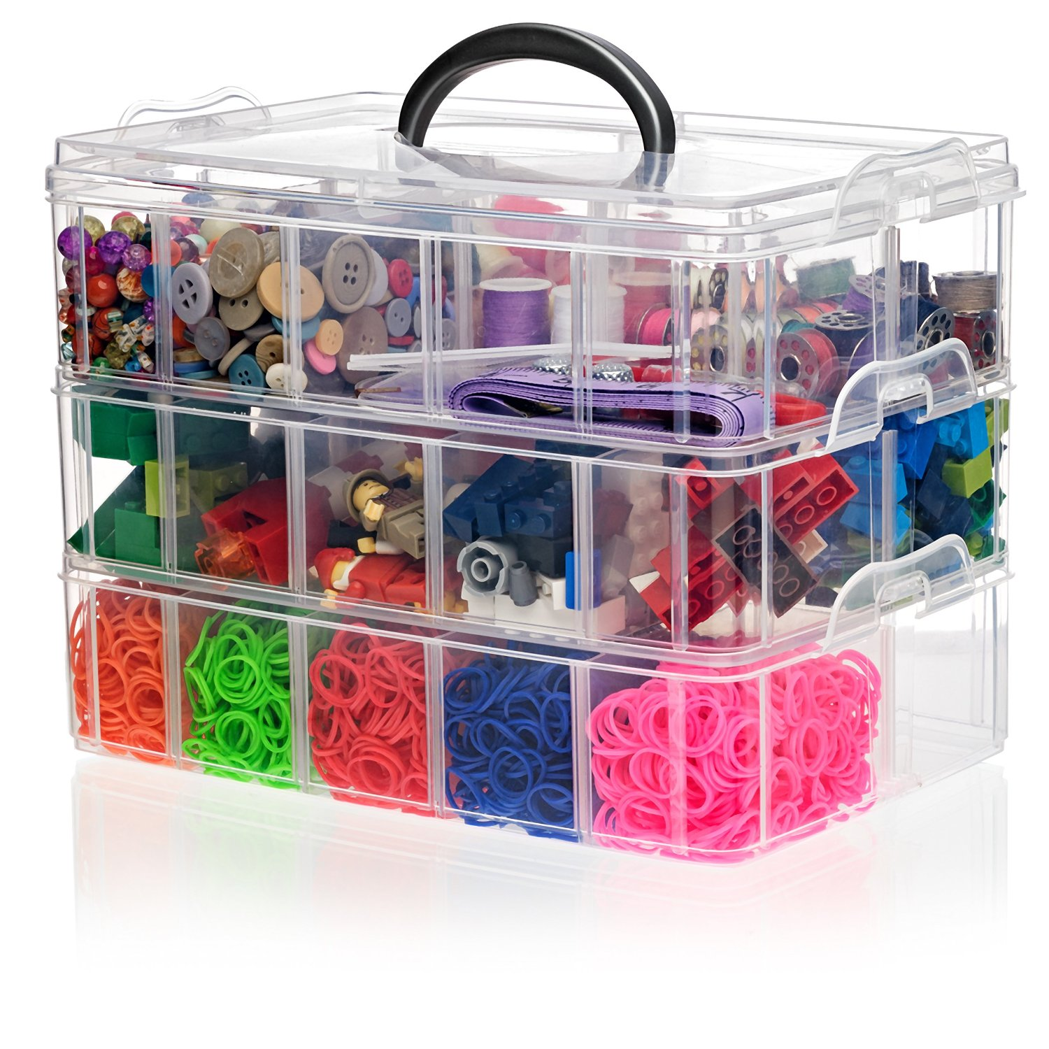 Snapcube Stackable Arts & Crafts Organizer Case, Clear