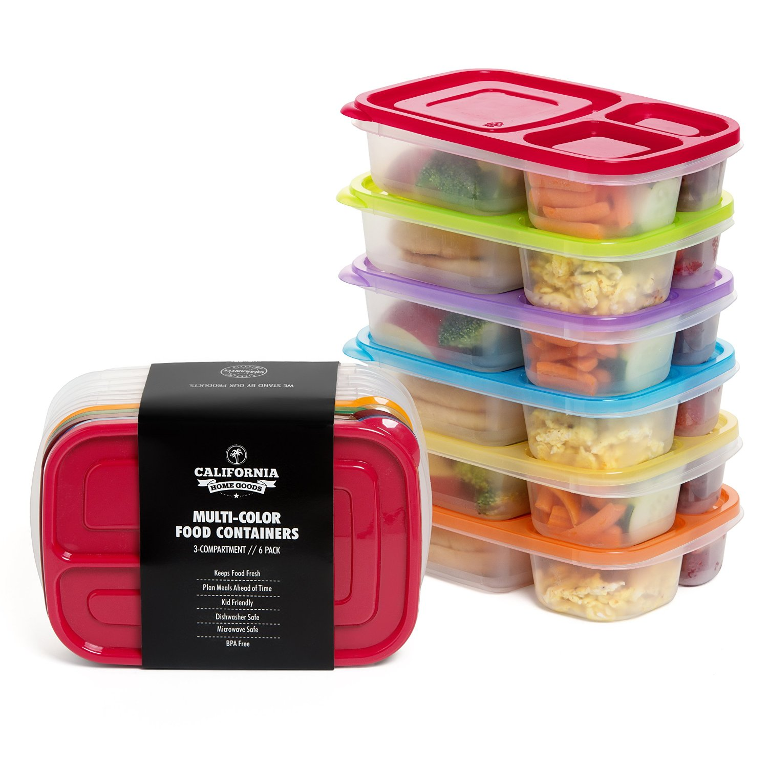 3 Compartment Reusable Food Storage Containers for Kids  , Set of 6