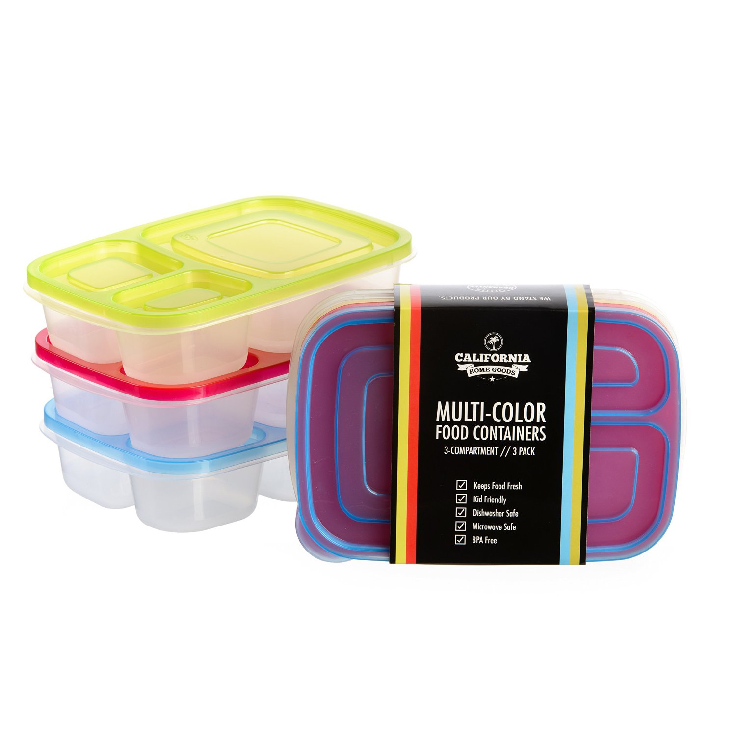 3 Compartment Reusable Food Storage Containers for Kids  , Set of 3