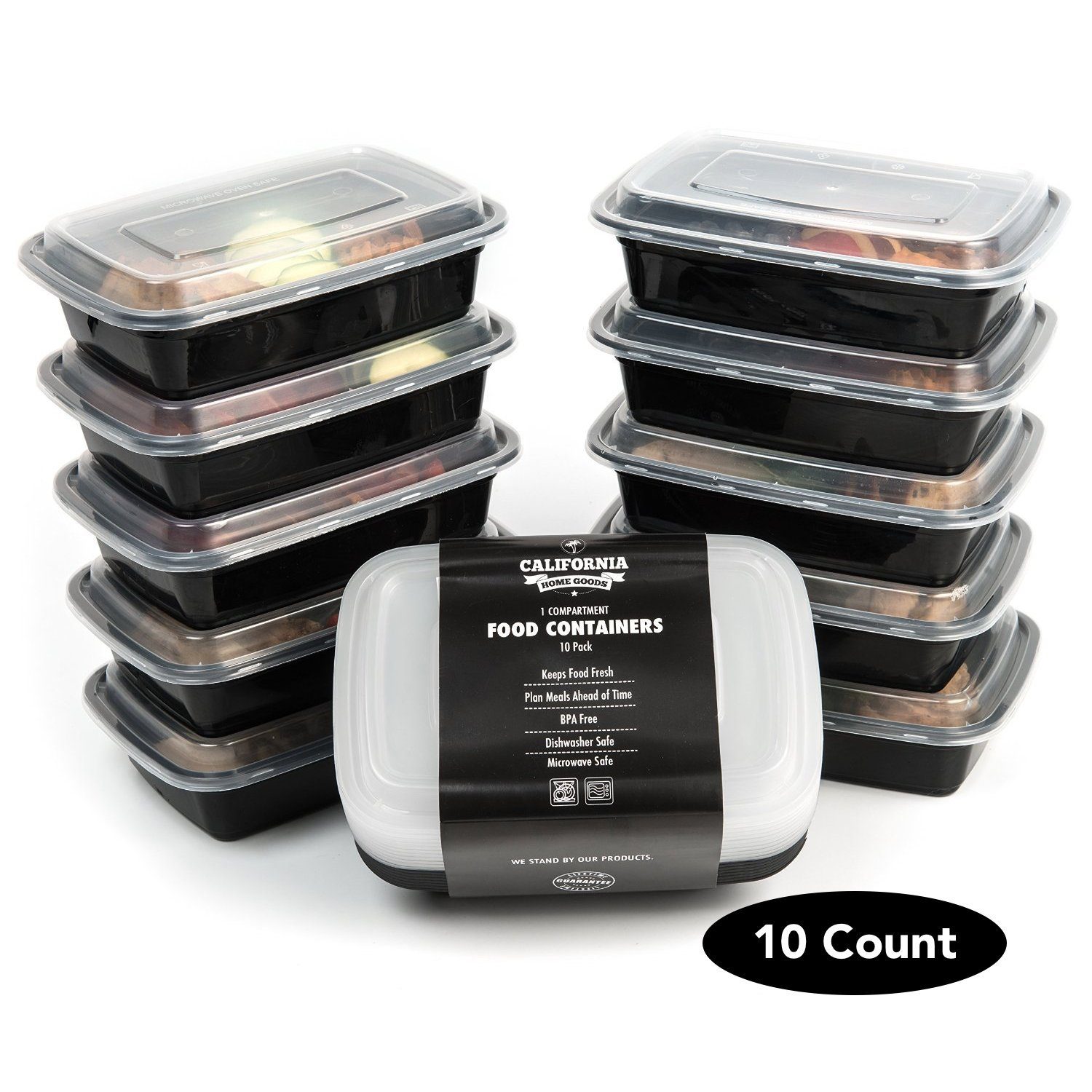 1 Compartment Reusable Food Storage Containers, Set of 10