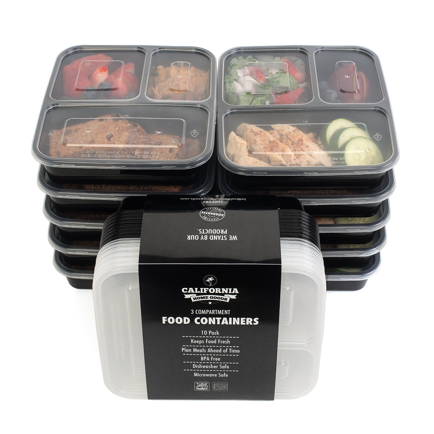 3 Compartment Reusable Food Storage Containers  , Set of 10