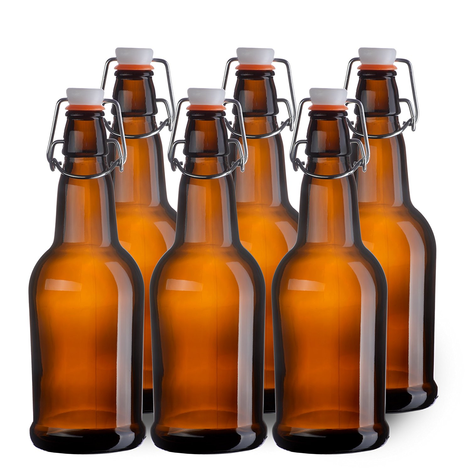 Home Brewing 16 oz Glass Bottles with Caps for Beer, Kombucha, Amber, Reusable (Set of 6-12