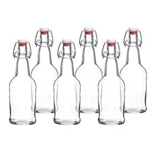 Home Brewing 16 oz Glass Bottles with Caps for Beer, Kombucha, Clear, Reusable (Set of 6-12
