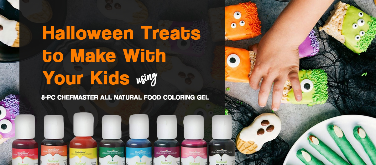 It's never difficult to get your kids pumped up for Halloween! But if you think you need to do a little something more than just the usual dressin' up and giving away candies for the Trick-or-Treat-ers, then why don't you make a simple Halloween celebration with snacks and treats made by your little monsters?  With our  8-Pc Chefmaster All Natural Food Coloring Gel , plus other ingredients that can easily be found in your favorite grocery stores, these easy and delicious recipes will surely be a hit in your Halloween Party at home. So go and have fun doing these with your kiddos!