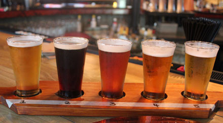 Micro brewery beers offered on San Francisco walking tour.
