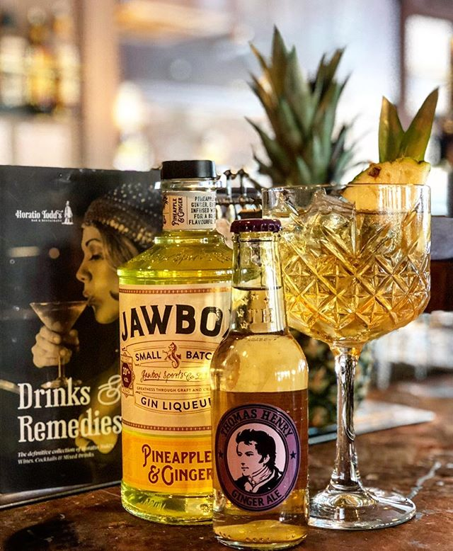 The new gin of the month has arrived.  Try your brand new @jawboxgin pineapple and ginger with ginger ale £6 #ginofthenonth #ginbar #gingoblet #horatiotodds #todds #restaurant #food #bar #barrestaurant #ginnginger #gnt #ginclub #ginlover