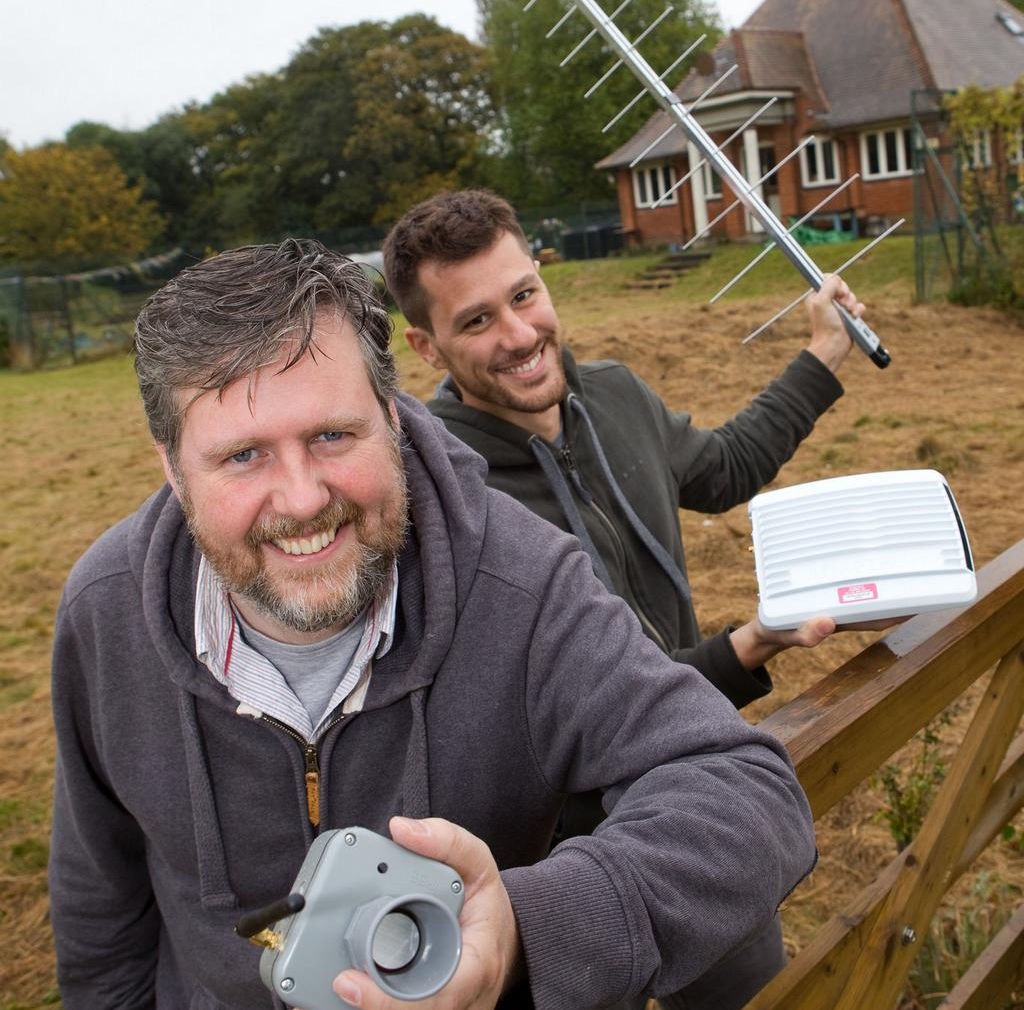 Left: Ben ward  (love hz) and  right: pasquale cataldi  (nominet) with flood network equipment at hogacre common eco-park