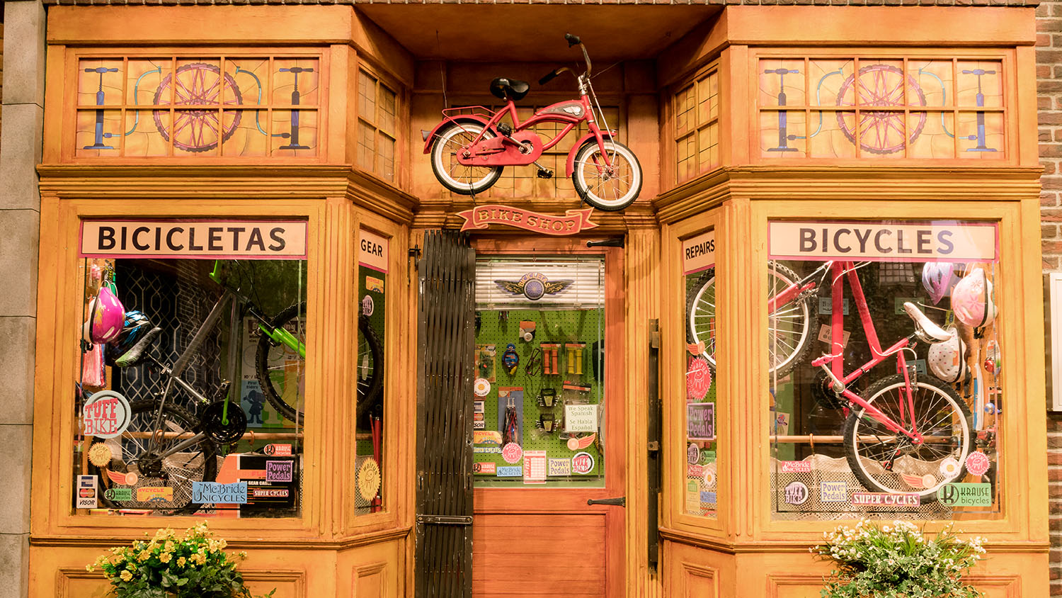 Bicycle Shop Stained Glass + Sign
