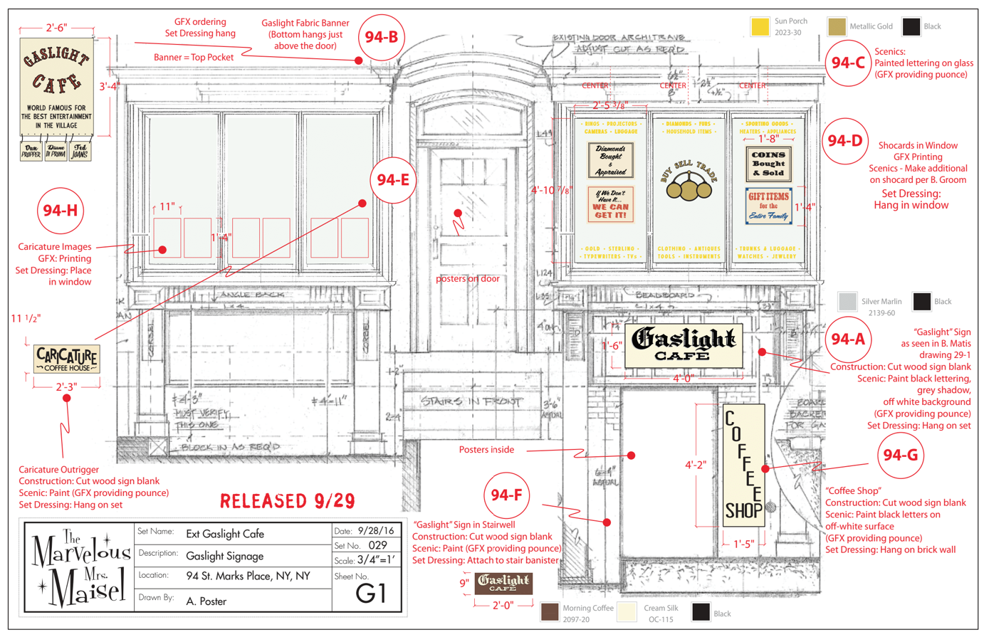 Gaslight Cafe Signs Layout