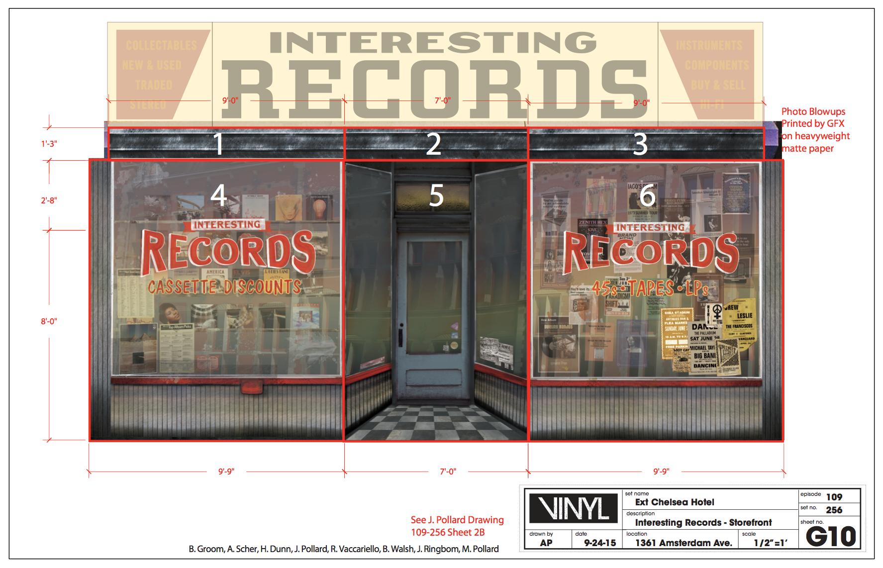 Printed Record Store Facade