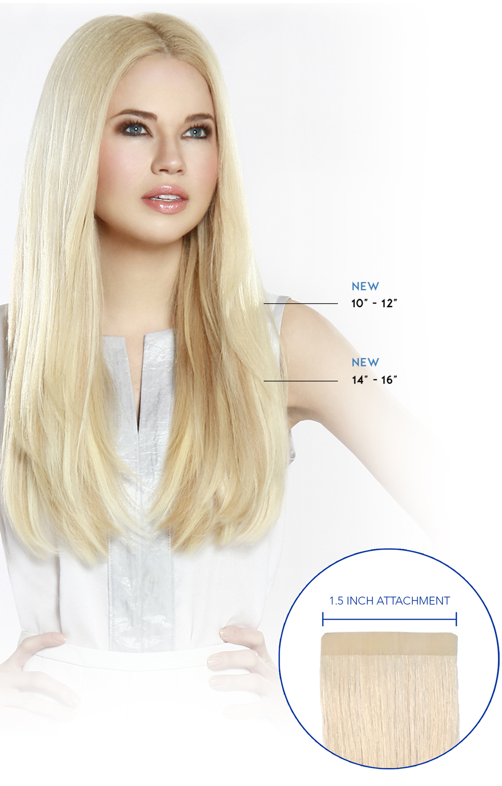 "10"" - 12"" and 14"" - 16"" Hair Extensions: 1.5 INCH ATTACHMENT"